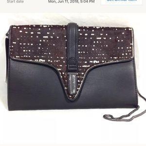 Zara Pony Hair Leather Envelope Clutch